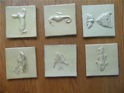 Set Of 6 Assorted Hand Made Artisan Cream Glazed Decorative Cornish Tiles