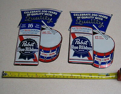 2 PABST BLUE RIBBON 1976 BICENTINNIAL PROMO STICKERS 12oz AND 16oz.