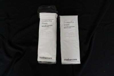 2 x Moses Basket Mothercare cotton flat Sheets - White