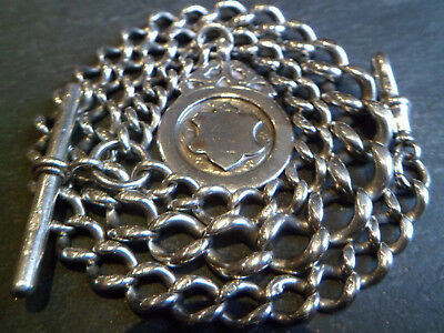 130 Year Old 52g Chunky Graduated Solid Silver Albert Pocket Watch Chain + Fob