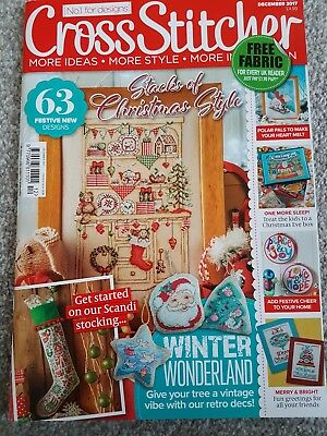 Cross Stitcher Magazine December  2017 (new) with cover kit (Xmas card)