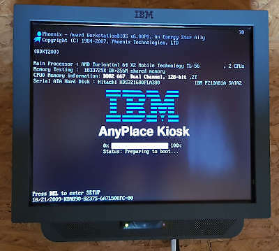 """IBM POS Anyplace Kiosk Kasse 4838 920 2GB RAM 80GB HDD Touch 19"""" WLAN"""