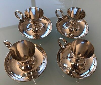 4 Silver Plated (?) Vintage Egg Cups