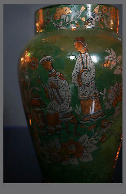 A Polychrome Painted Reverse Glass Decoupage Chinoiserie Design Vase. 20 cm H.