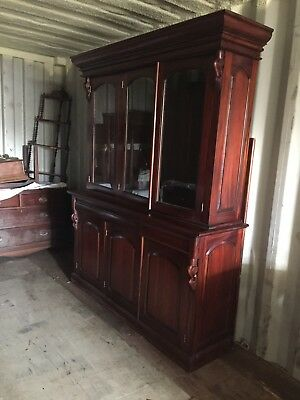 Tall Beautiful Mahogany Type Wood Glass Front bookcase