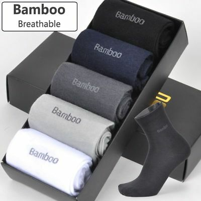 Socks Bamboo Fiber Long 5pairs Men Soft Casual Breathable Anti-bacterial Sports