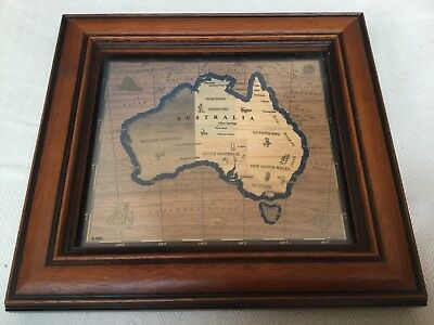 HANDMADE FRAMED MARQUETRY MAP OF AUSTRALIA. by MARQUETRY MATTERS SYDNEY.