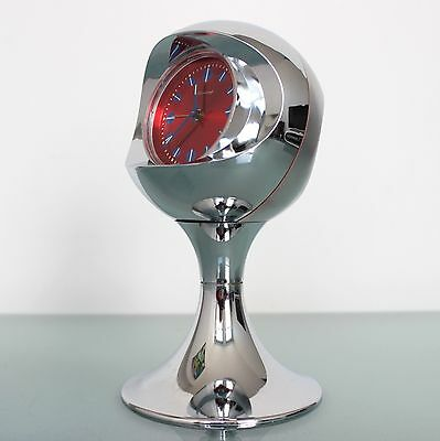 German BLESSING CLOCK Mantel Alarm RETRO TOP! Vintage CHROME Pedestal Space Age