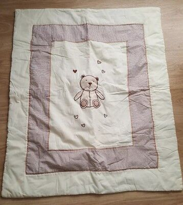 Nursery Cot / cot bed quilt unisex hand made teddy bear design play mat blanket