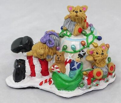 Yorkshire Terriers Santa Igloo Delivery Yorkie Dogs Figurine Christmas Holidays
