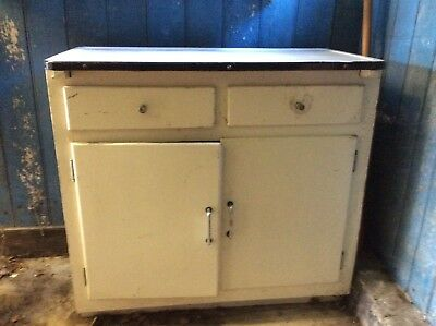 1950s chest/drawers with enamel top + 2 tall shelves/cupboards