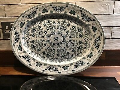 """LARGE ANTIQUE CHINA MEAT PLATTER """"Indian Ornament Pattern"""" MADE IN ENGLAND"""