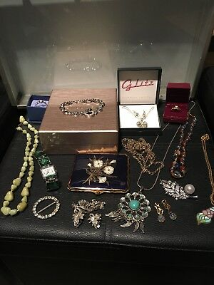 Job Lot Of Vintage & Modern Jewellery Used & New Some Boxed & Cigarette Case