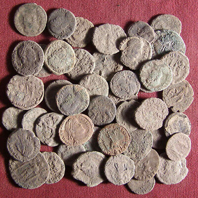 Lot of 45 uncleaned late Roman bronze coin