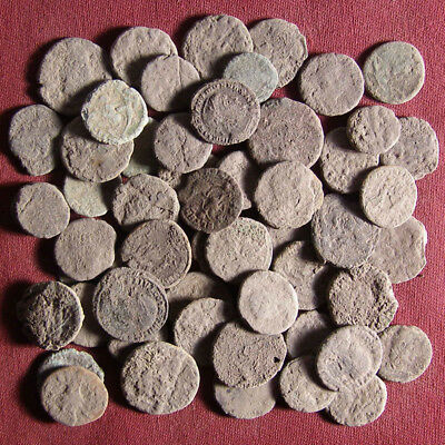 Lot of 55 uncleaned late Roman bronze coin