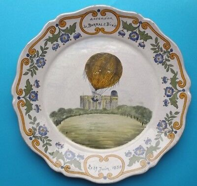 ancienne ASSIETTE MONGOLFIERE BARRAL BIXIO 1850 / NEVERS / collection (2)