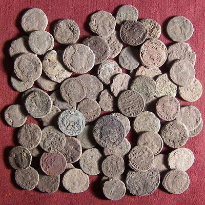 Lot of 70 uncleaned late Roman bronze coin