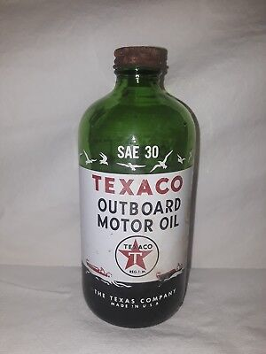 TEXACO Outboard Motor Oil Glass Bottle SAE 30 Made in the USA 1/3 full.