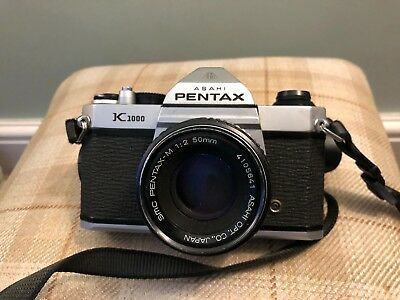 Asahi Pentax K1000 Vintage SLR Camera with 50mm Lens and original case - working