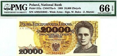MONEY POLAND 20,000 ZLOTYCH 1989 NATIONAL BANK PMG GEM UNC PICK # 152a RARE
