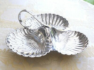 Harrods Art Deco Silver Plated 3 Section Shell Pattern Serving Dish  1390222/227