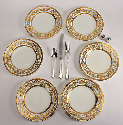 6 Antique Minton Dessert Plates for Tiffany 1910 Etched Gold Pattern H1832 7 3/4