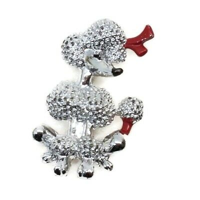 Vintage French Poodle with Red Bow Dog Figural Small Costume Brooch Pin EUC