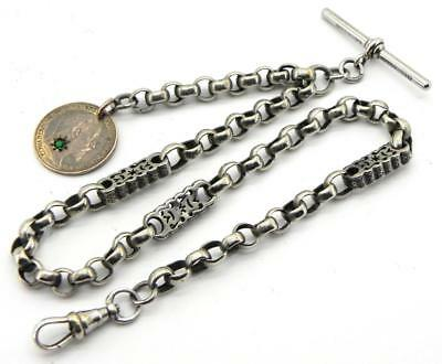 Antique Albo Silver Albertina Watch Chain, c 1900, By NCR&Co