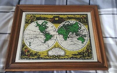 """Vintage 1970s 'World Map"""" Picture Mirror"""