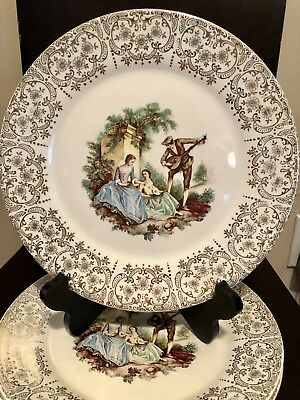 """American Limoges CHINA D'OR Dinner Plates 10 1/8"""" SET OF 4"""