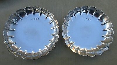Fine pair Antique George V sterling silver strawberry dishes, Crichtons, 302g