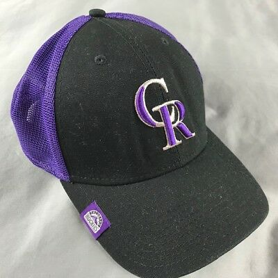 new styles d6dc9 17cd9 Colorado Rockies New Era Mesh Classic 39 THIRTY Flex Hat - Black Purple  Large