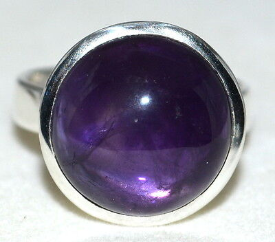 Natural Purple Amethyst Sterling Silver Ring 925 Solitaire Sizes M, 6 to Z+5,15