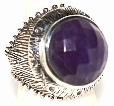 Sterling SILVER Genuine AMETHYST Ring, ANTIQUE Style Hallmarked 925; Sizes N,P,Q