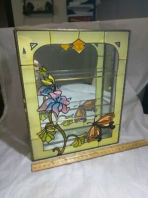 Vintage Painted Glass Display Case With Butterfly & A Rose. Has Crack