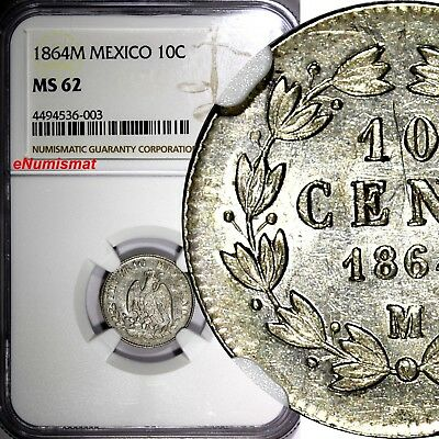 Mexico EMPIRE OF MAXIMILIAN Silver 1864 M 10 Centavos NGC MS62 SCARCE KM# 386.1