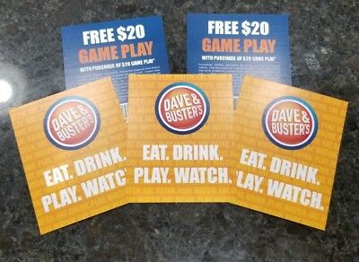 Dave and & Busters Game Play B20G20 EXP 12/31/2019 (5) FREE SHIP!