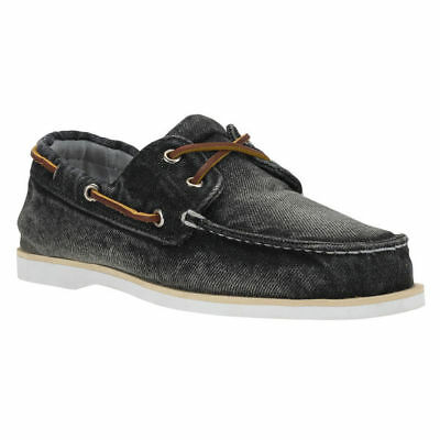 New Timberland Icon Classic 2-Eye Black Denim Lace Up Mens Boat Deck Shoes UK 7