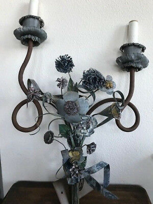 VINTAGE ITALIAN TOLE FLORAL SCONCE. SHABBY CHIC. From Woodstock New York