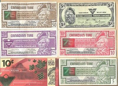 Lot of 6 different Canadian Tire redemption coupons paper money