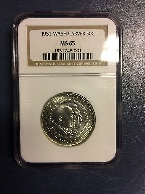 1951 S Washington Carver Commemorative Silver Half Dollar graded MS 65 by NGC!