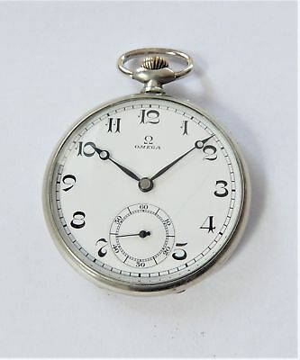 1940's Metal Cased Omega 15 Jewelled Swiss Lever Pocket Watch Working