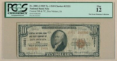 Des Moines Central National Bank note - $10.00 1929 RARE TYPE 2  (!) PCGS Fine