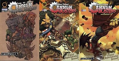 CANNON BUSTERS 0 1 A B set of 3 LeSean Thomas Netflix 1st Appearance Rare HTF NM