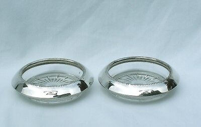 2 Vintage Sterling Silver & Starburst Cut Glass Coasters Frank M Whiting & Co