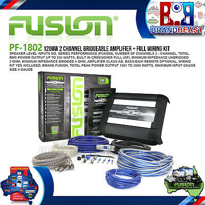 Fusion Performance Pf-1802 1200w 2 Channel Car Audio Amplifier Amp + Wiring Kit
