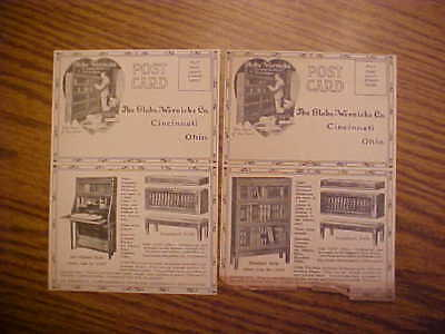 2 Vintage Globe-Wernicke Advertising Postcard - Barrister Bookcases & Bookplates