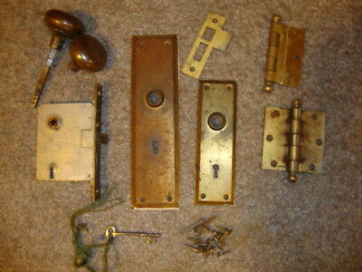 Vintage Antique Door Knob Lock and Key, Hinges