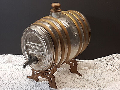 Rare 19th Century French Cognac Cask Keg Dispenser Bottle with Ormulu Stand