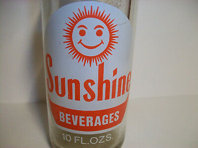 Sunshine Beverages Soda Pop Acl Bottle Happy Smiley Face Sun Colorful Graphics